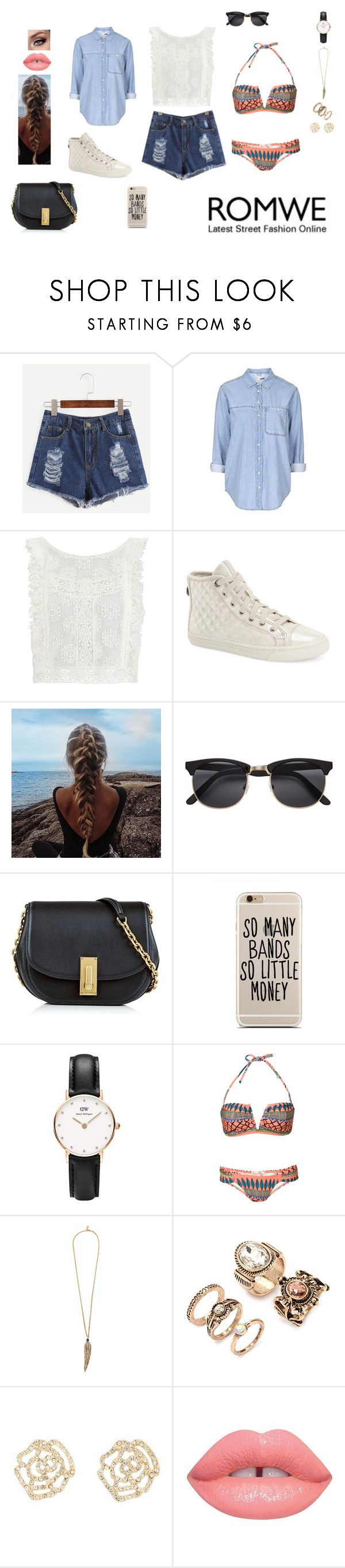 """The theme is: Blue Denim Shorts #2"" by leacousty55 ❤ liked on Polyvore featuring Topshop, MINKPINK, Geox, Marc Jacobs, Daniel Wellington, Mara Hoffman, Roberto Cavalli, Forever 21 and Charlotte Russe"