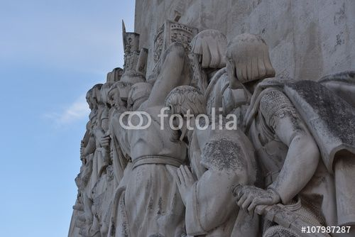 "Download the royalty-free photo ""Monument of the Discoveries, lateral detail view, Lisbon, Portugal "" created by Ciaobucarest at the lowest price on Fotolia.com. Browse our cheap image bank online to find the perfect stock photo for your marketing projects!"