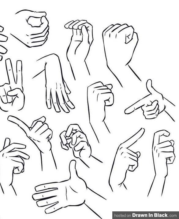 Picture of the various positions of hands from Drawinblack.com