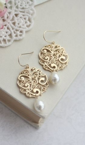Gold Paisley with Ivory Pearls Chandelier Drops Filigree Earrings