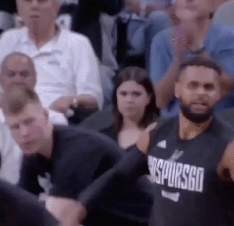 New party member! Tags: nba excited yes spurs pumped san antonio spurs nba playoffs patty mills pumped up fired up 2017 nba playoffs bench celebration patty mills