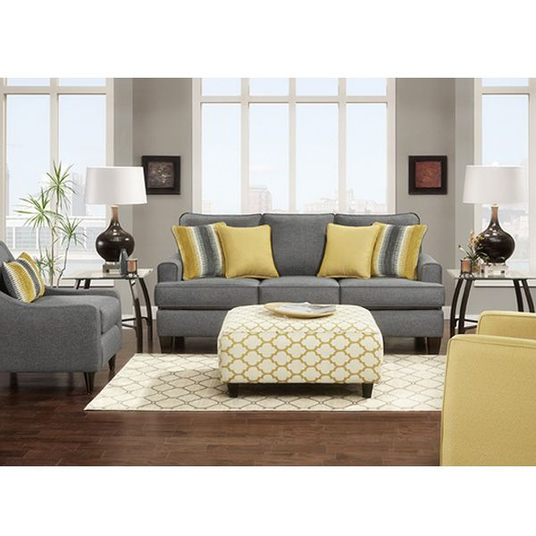 Our Citrine Sofa Is Covered In A Soft Gray Fabric. We Added 4 Toss Pillows  For Color And Your Comfort.