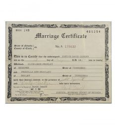 Elvis and Priscilla Presley's Marriage Certificate. This is the original Las Vegas, Nevada marriage certificate signed by Justice David Zenoff and best men, Marty Lacker and Joe Esposito.