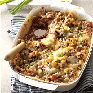 Chili Mac Casserole Recipe -This cheesy casserole uses several of my family's favorite ingredients, including macaroni, kidney beans, tomatoes and cheese. Just add a leafy salad for a complete meal. —Marlene Wilson, Rolla, North Dakota