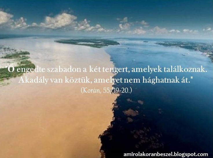 """A tengerek nem keverednek egymással   """"Ő engedte szabadon a két tengert, amelyek találkoznak. Akadály van köztük, amelyet nem hághatnak át.""""..."""