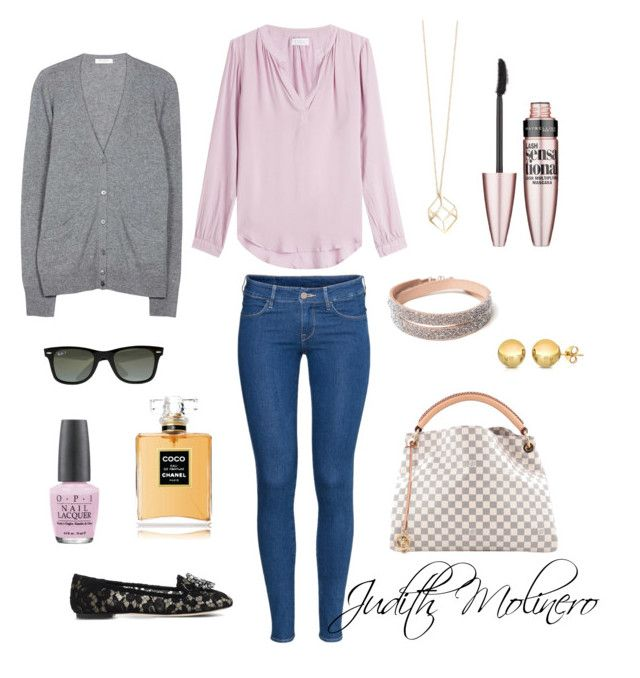 """""""Light pink with gold"""" by judith-molinero-fashion on Polyvore featuring H&M, Velvet, Equipment, Dolce&Gabbana, Ray-Ban, Louis Vuitton, OPI, Chanel and Maybelline"""