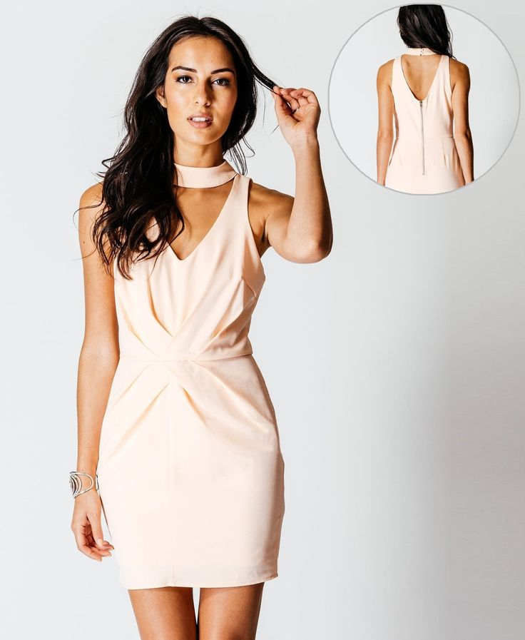 Parisian Choker Gathered Detail Bodycon Mini Dress Nude