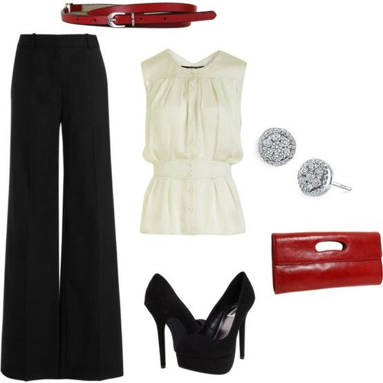 .: Date Night, Wide Legs Pants, Style, Red Shoes, Black White, The Offices, Work Outfits, Red Accent, Red Black