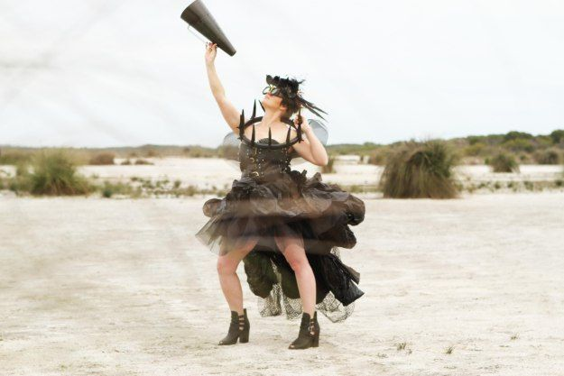 The Junk Fairy. Handmade creation from things around the farm. Dowerin Field Days competition Entry 2014. #fashion #fun #recycle #upcycle #farmart #wearableart #blackdress #megaphone