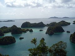 RAJA AMPAT-PAPUA-INDONESIA.  Raja Ampat is in Papua in Indonesia. The name given to these islands comes from a local myth. The four major islands found here are Waigeo, Misool (which is home to ancient rock paintings), Salawati, and Batanta.