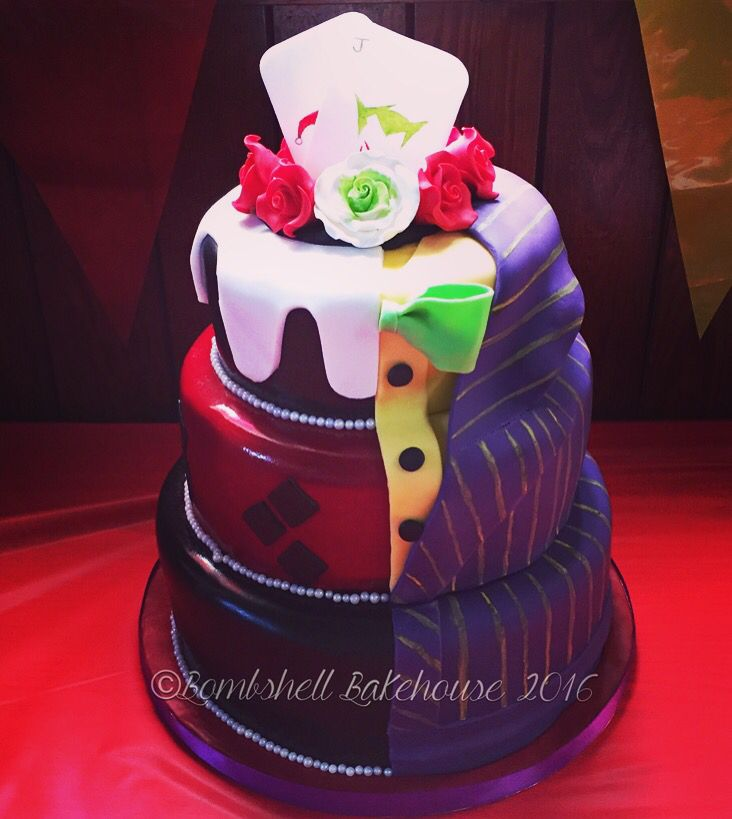 Joker and Harley Quinn two sided wedding cake