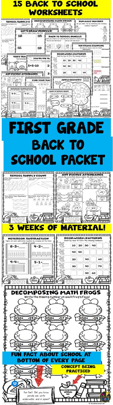 This is a back to school math packet for first graders! It reviews kindergarten skills learned in the previous year. It has 15 math worksheets that each review a different skill and each have a fun fact about school at the bottom too! Great for first graders, or teachers and parents looking for extra practice or remediation.