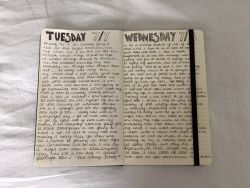 puddlekid:  journal entries from yesterday and today (working on my cursive atm)please don't remove caption or source