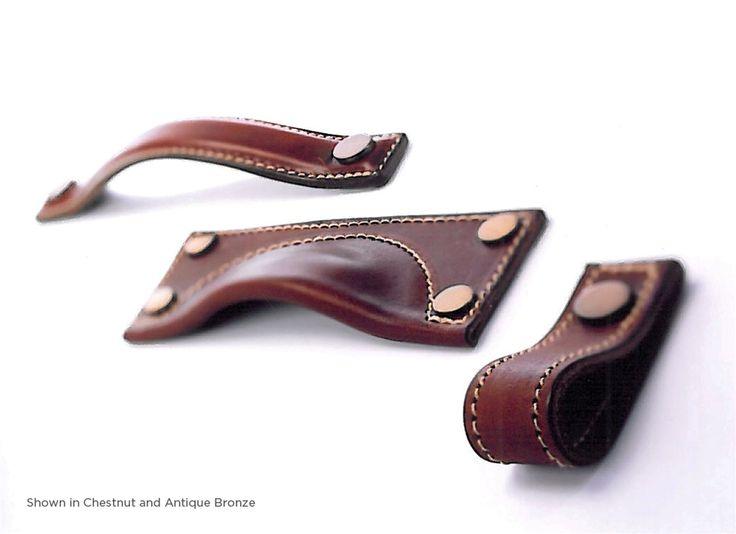 Bow Leather, Cabinet D handle, Medium