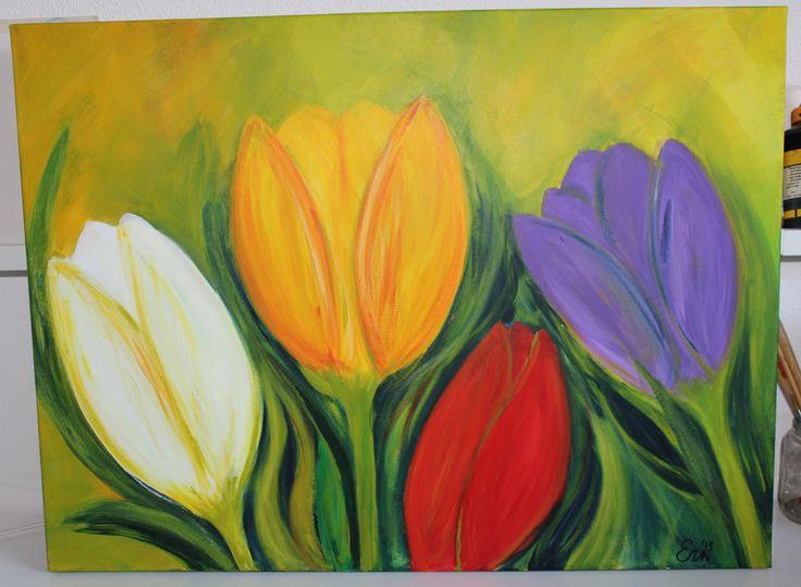 Tulpen gekleurd- acryl op canvas door Erna Feijge