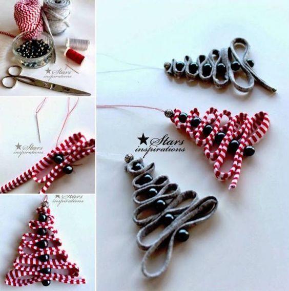 fabriquer des ornements de Noël en formes de sapins en rubans et perles