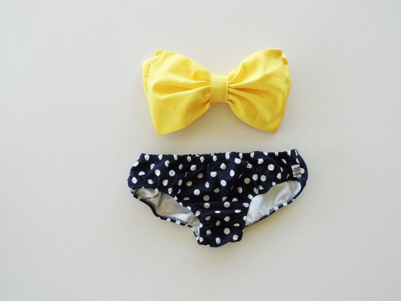 Sunshine Yellow Bow Bandeau Bikini Style Top Navy Blue and white polka dot panties.