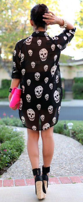 Skully Blouse + Wedges <3