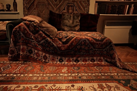 Sigmund Freud's couch in his study at 20 Maresfield Gardens in London · Pilgrimage by Annie Leibovitz