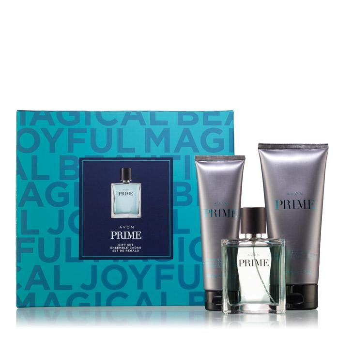 Avon Prime Gift Set. The 3-piece Avon Prime for Him Collection. An irresistible blend of aromatic lavender, refreshing spearmint, and rich cedar wood that creates a bold and masculine, long-lasting impression. Regularly $50. Shop online with FREE shipping with any $40 online Avon purchase #Avon #Sale #CJTeam #ForHim #MensFragrance #Fragrance #HolidayGift #AvonCollectible #Prime #Avon4me #GiftSet #C22 Shop Avon Fragrance online @ www.TheCJTeam.com.