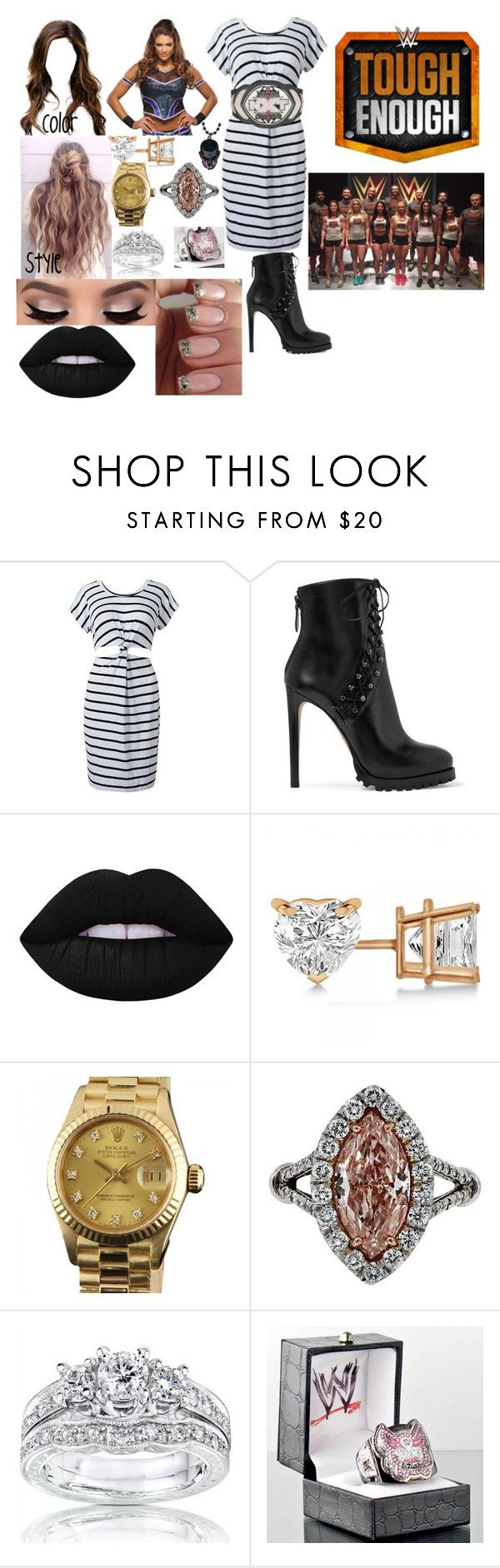 """""""Jessie Balor a coach on WWE Tough Enough Season 6"""" by anaeve ❤ liked on Polyvore featuring Alaïa, Lime Crime, Allurez, Rolex and Kobelli"""