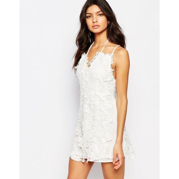 Foxiedox Clover Mini Dress With Lace Daisy Detail (€62) ❤ liked on Polyvore featuring dresses, white, v neck lace dress, tall dresses, mini dress, white v neck dress and v neck dress