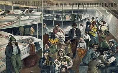 Steerage passengers in bunk area