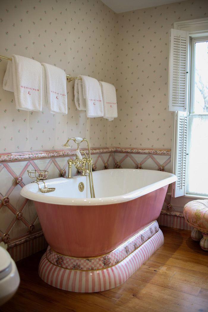 Our Beautiful Pink Tub Featured In Our Farmhouse Luxurybathrooms Bathroom Design Decor Mackenzie Childs Bathroom Design
