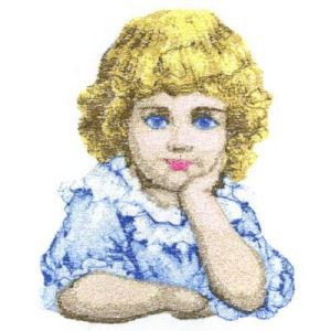 """""""Victorian Child Photo Stitch"""" Here is a charming design to stitch in near photo quality embroidery of a Victorian child, with big blue eyes, looking out at you with incredible realism. Very nice to stitch and frame. For 5x5 or 6x6 hoops."""