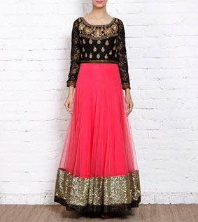 Pink & Black Sequined Net Gown