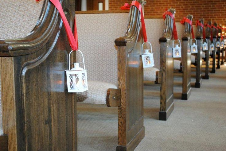 Church Pew Wedding Decorations Uaing Lanterns Lanterns