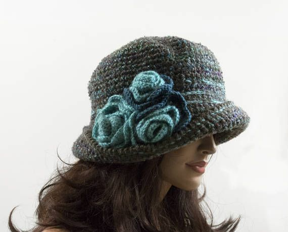 Crochet Cloche Hat with 3 Crochet Flowers  Taupe and