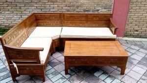 Kursi Sudut Minimalis Jati Letter L | Alfah Furniture