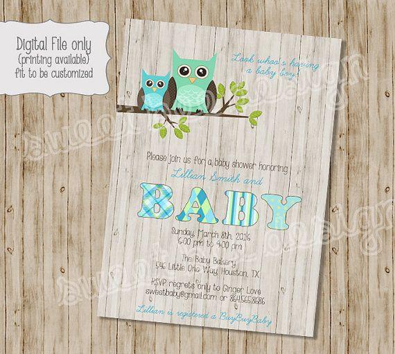 Baby Owl Shower Invitation Baby Shower Invitation Owl Baby