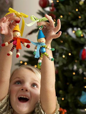 Colorful Christmas Crafts for Kids: Jolly Elves (via Parents.com) wooden beads, felt