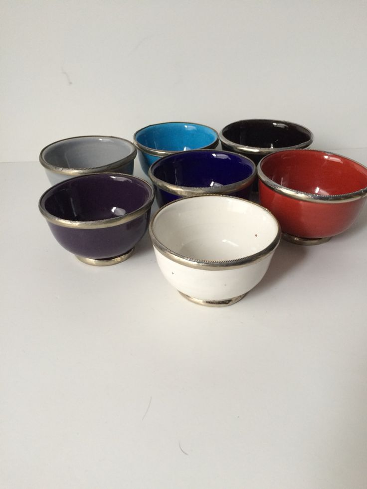 Sweet little bowls in white, black, red, blue, light blue, and grey(€2,50) handmade in morocco