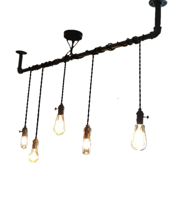 5 Pendant Light - Wrap a pipe or bar modern chandelier - Industrial pendant lamp - Any Custom Lengths and Colors - Kitchen Island Chandelier