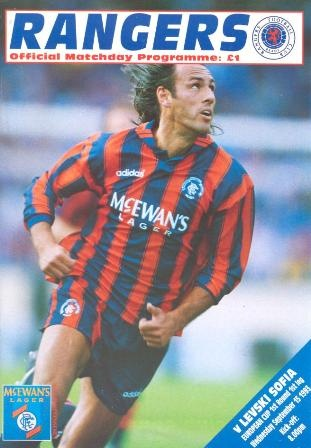 Glasgow Rangers v Levski Sofia official programme 15/09/1993