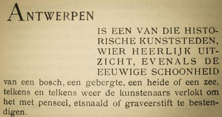 """Maurits Sabbe (1873-1938), Vlaams auteur, over Antwerpen in het voorwoord van het boek """"Atmosfeer van Antwerpen; zes-en-dertig houtgravures van Joris Minne"""" uit 1930, gevonden op een Belgische boekenmarkt (www.boekenmarkten.be)"""