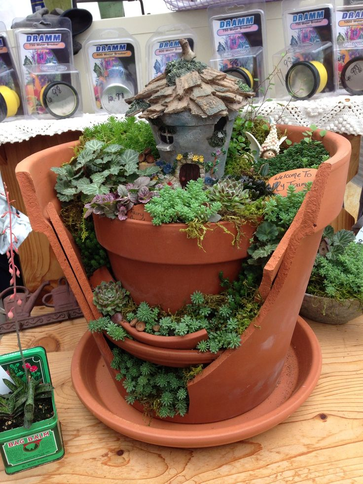 Fairy garden in a broken pot.....cute... This one has 4 levels with plantings.