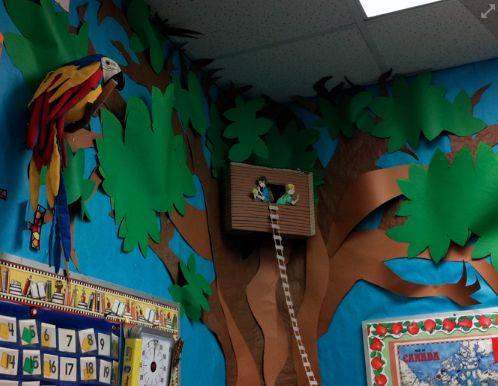 MAGIC Tree House:  Corner tree in reading corner is perfect.  Don't forget the rope ladder....