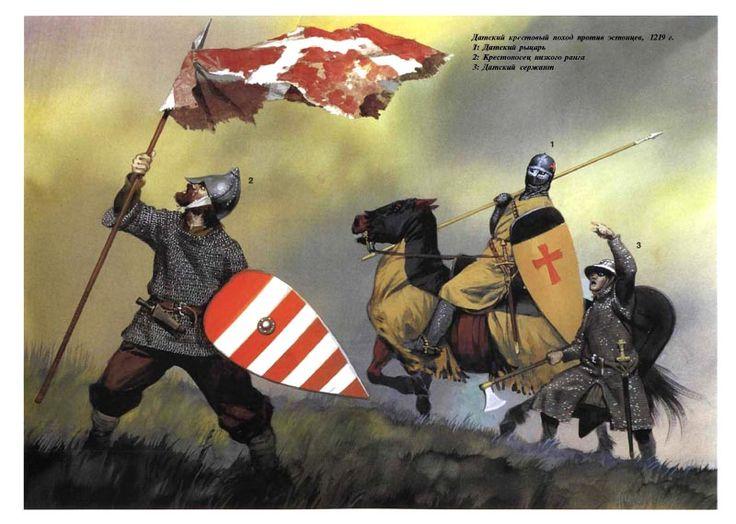 """Cruzados daneses. Si habéis visto la serie 1864 recordareís que los orgullosos daneses no paraban de repertir que su bandera cayó del cielo, lo que les hacía automáticamente superiores a los prusianos. Supongo que esta ilustración de cruzados en 1219 refleja el origen de la leyenda danesa. Según la tradición danesa fue en la batalla de Lyndanisse (1219) durante la cruzada contra los estonios, cuando la """"Dannebrog"""" cayó del cielo e insufló ánimos en los apurados daneses para rehacerse y…"""