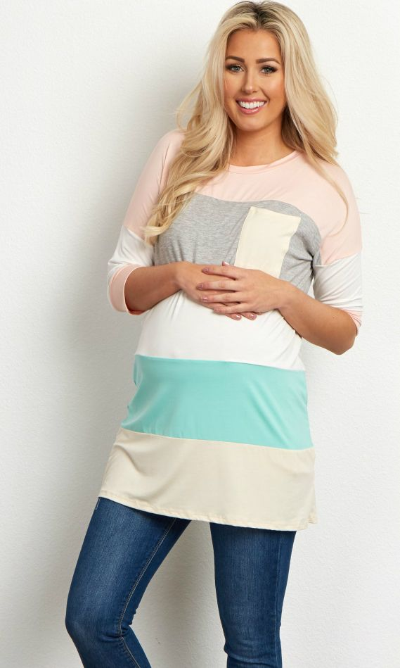 This colorblock maternity top is the perfect piece to add a pop of color to your closet this year. A multi-color pattern will add brilliant hues to any outfit. Simply style this maternity top with maternity jeans and booties for a casual look, or dress it up with a necklace and heels for a casually chic ensemble.