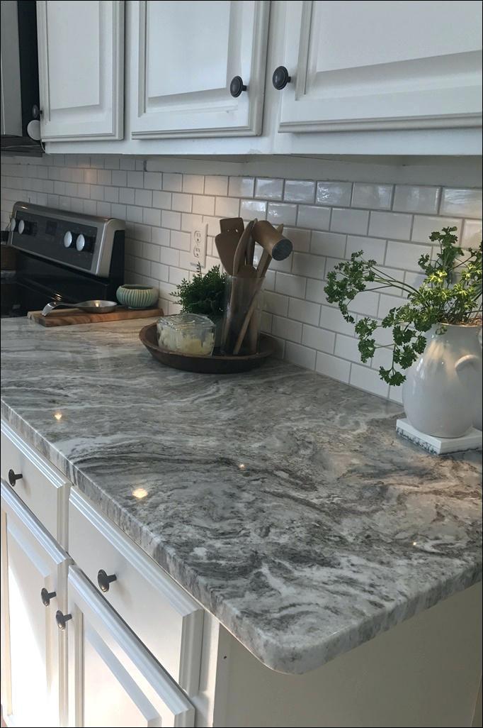 Grey And White Tile Backsplash Kitchen Splash Board Blue Cabinets