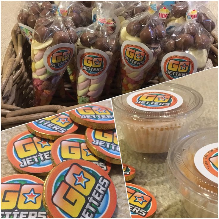 CBeebies Go Jetters Party Bags. Chocolate coin prizes for pass the parcel & cake!
