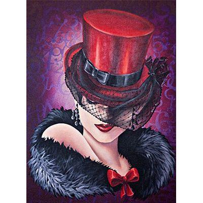 Image 3D 30x40cm - Femme au chapeau rouge