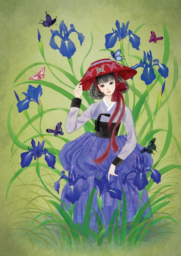 """열두달의 꽃과 한복을 입은 열두명의 소녀. 소녀, 꽃 속에서 노닐다. 연작 4월의 탄생화 붓꽃 붓꽃의 꽃말은 """"좋은 소식"""""""