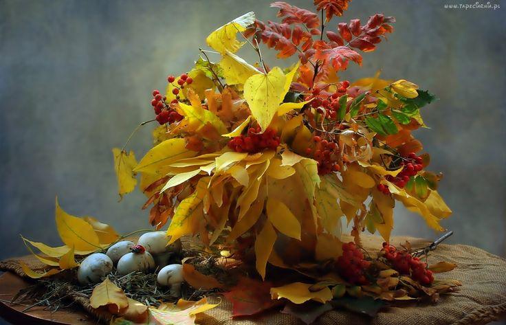 Jesień, Bukiet, Liści, Grzyby