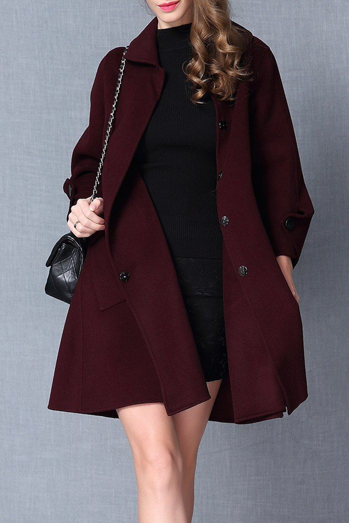 A Line Buttoned Wool Coat ==