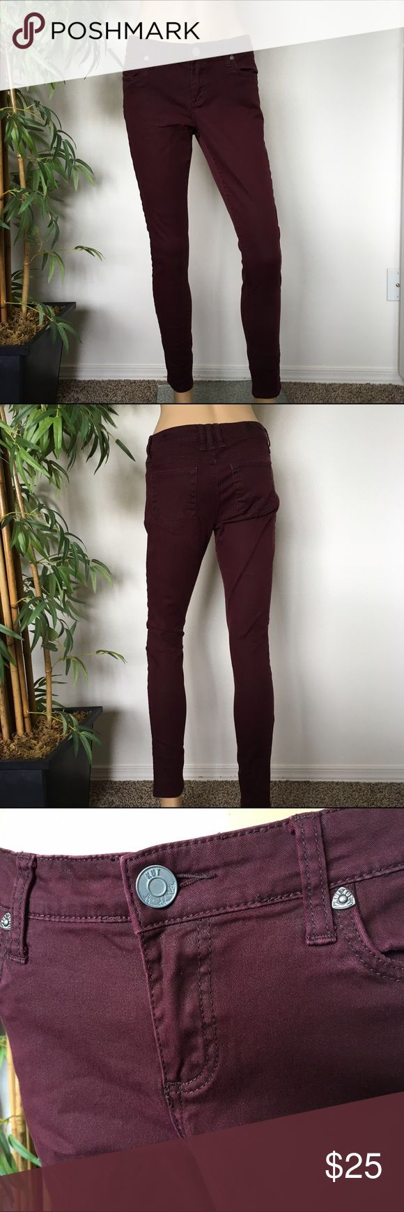 KUT Burgundy Skinny Jeans size 6 Shimmering burgundy skinny jeans like new size 6 Price Firm Please Kut from the Kloth Jeans Skinny